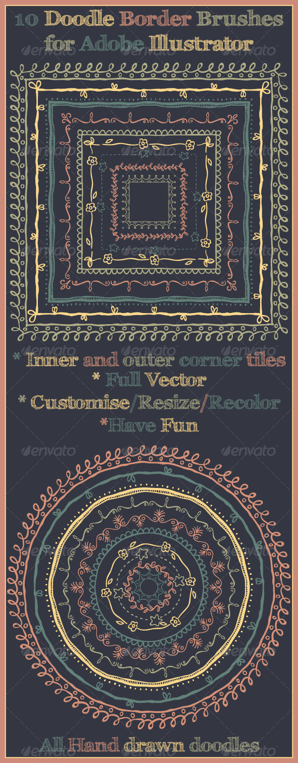 GraphicRiver Doodle Pattern Brushes for Illustrator 5768294