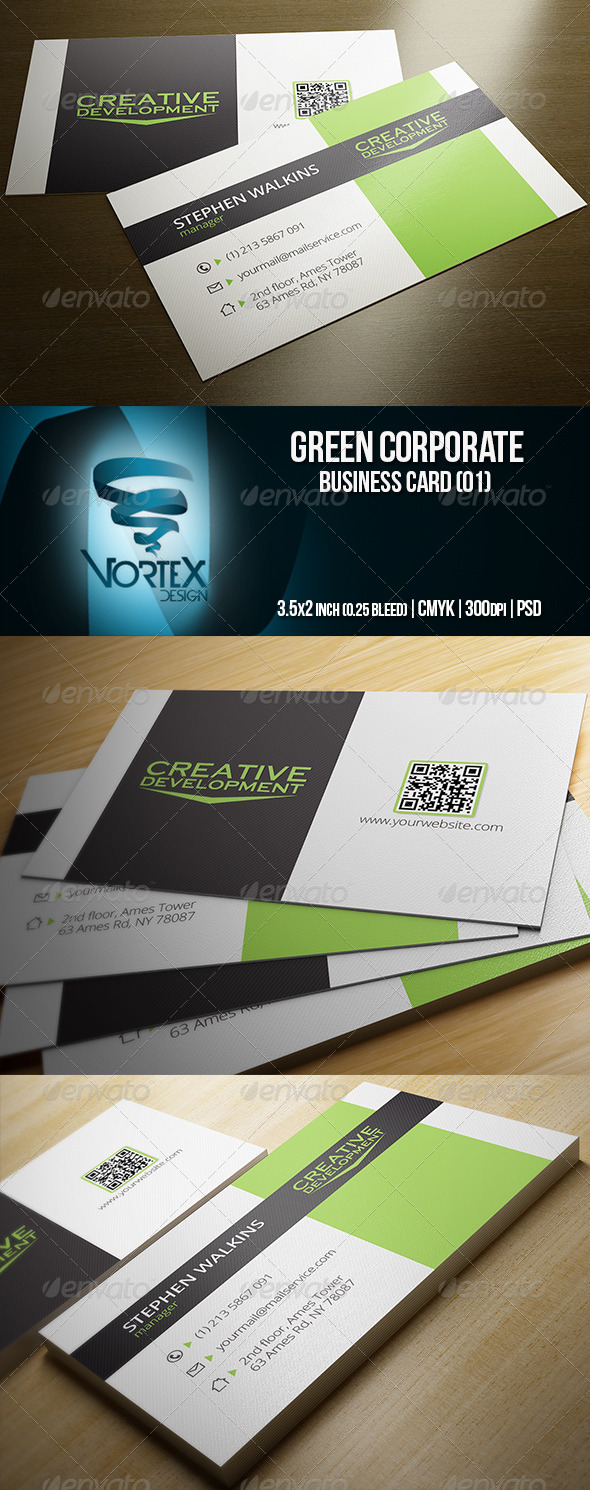 GraphicRiver Green Corporate Business Card 01 5768304