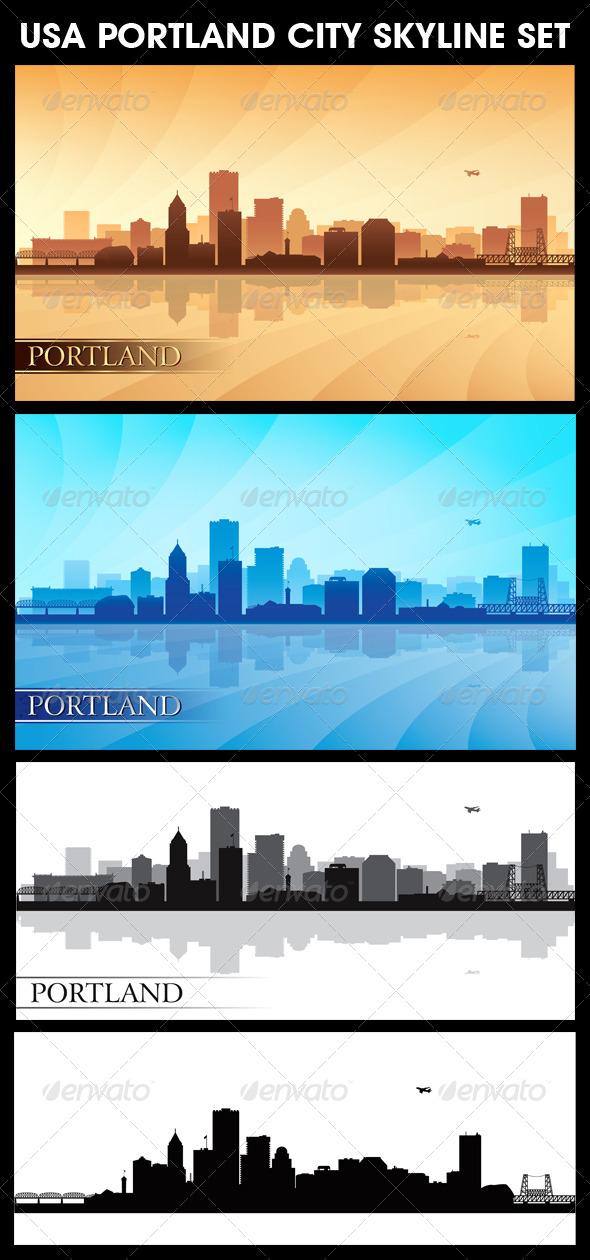 GraphicRiver Portland USA City Skyline Silhouettes Set 5768589
