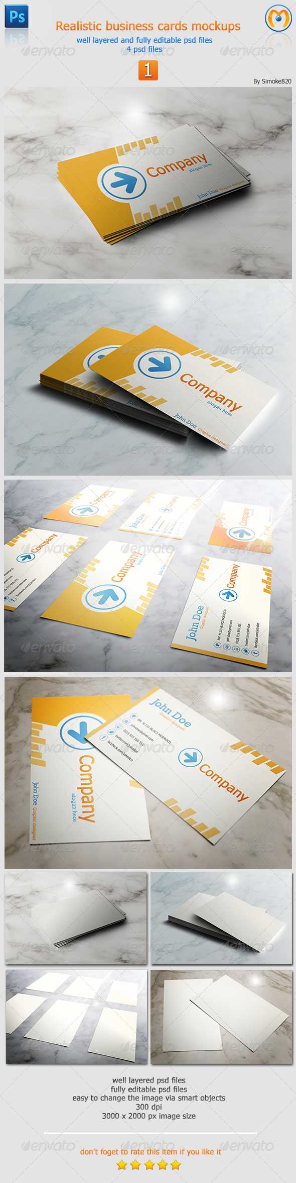GraphicRiver Realistic Business Card Mockups V.1 5771225