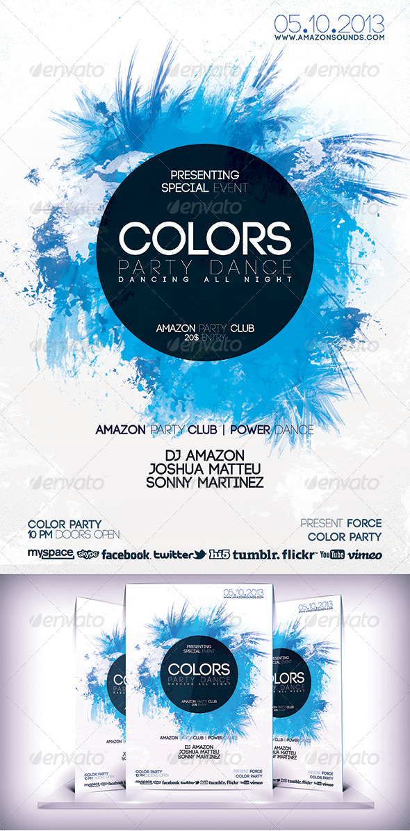GraphicRiver Colors Party Dance Flyer 5771324