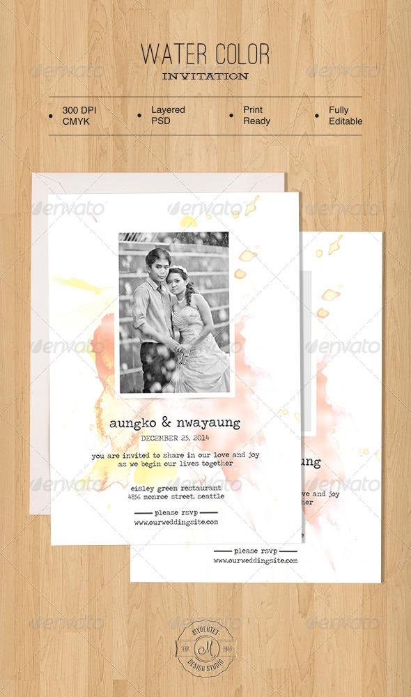 GraphicRiver Water Color Invitation 5722877
