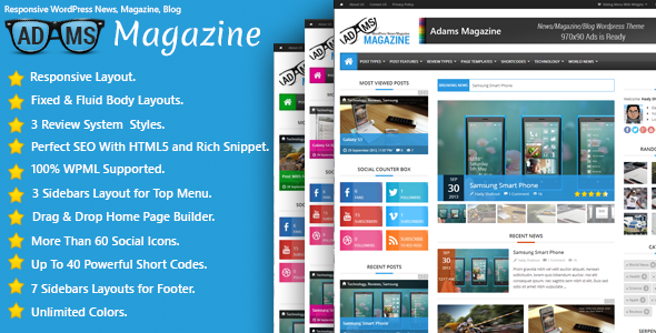 Adams v1.1.2 | ThemeForest Responsive WordPress News, Magazine, Blog