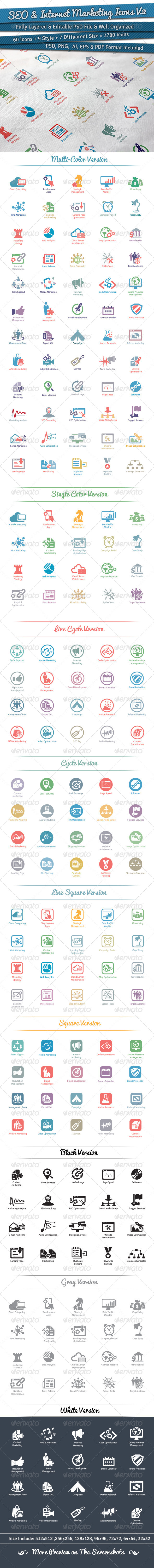 GraphicRiver 60 SEO & Internet Marketing Icons Volume 2 5771814