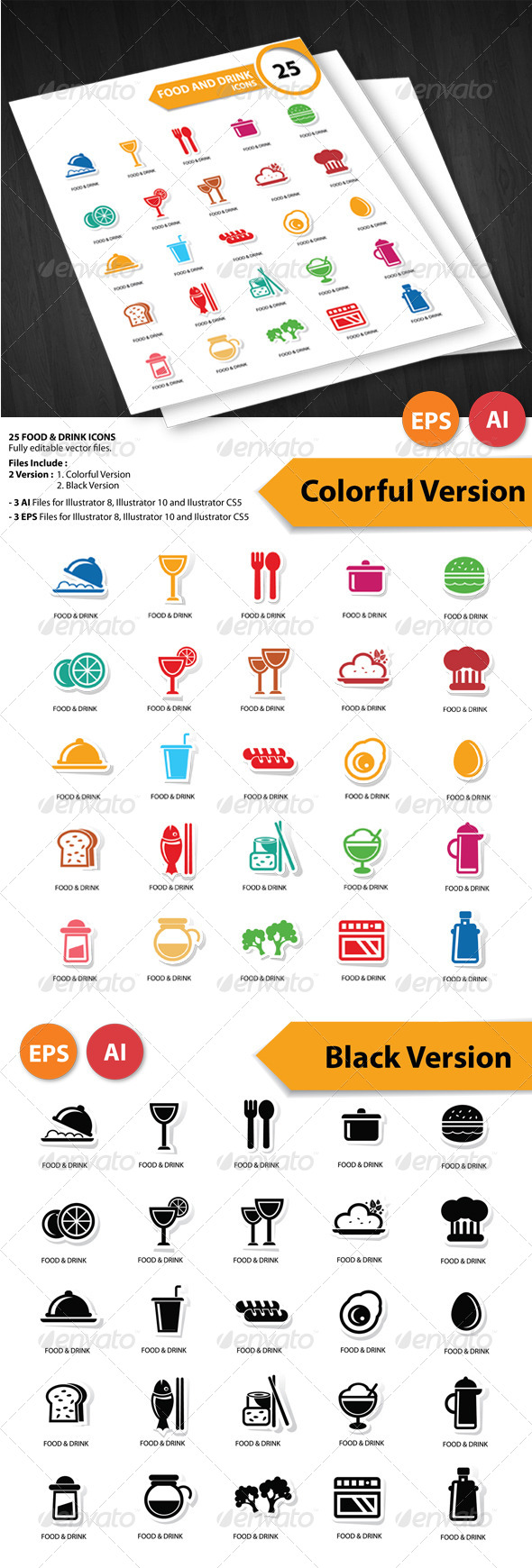 GraphicRiver 25 Food & Drink Icons 5772164