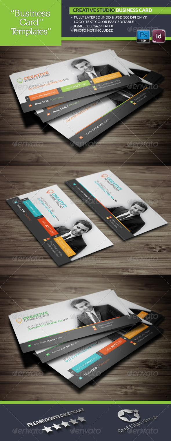 GraphicRiver Creative Studio Business Card Template 5773506