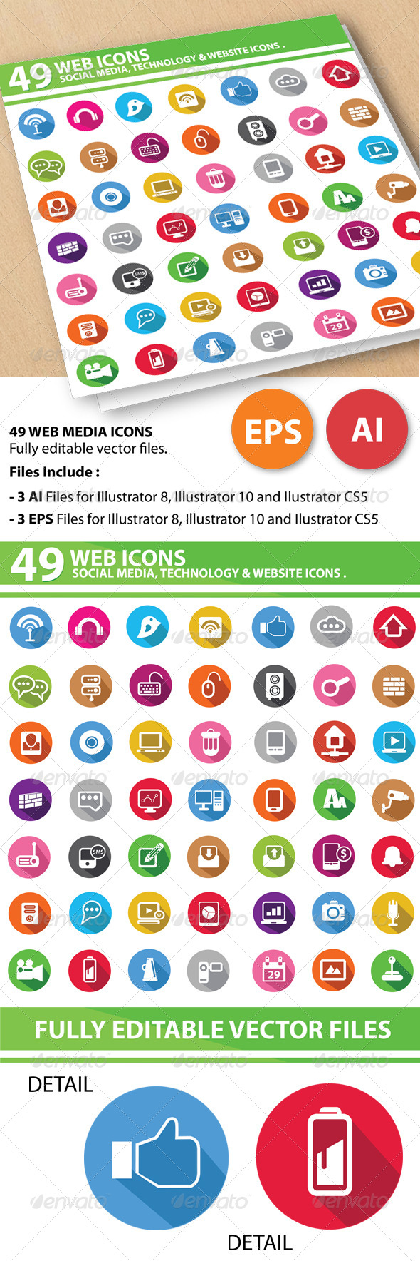 GraphicRiver 49 Web Media Icons 5774164