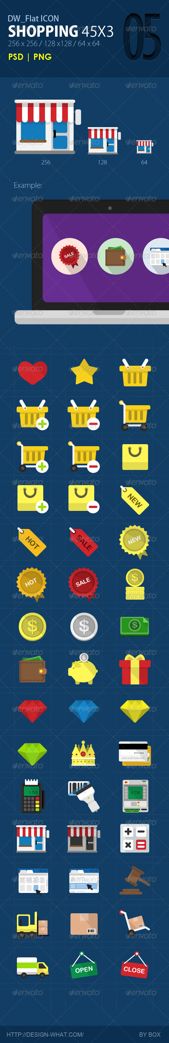 GraphicRiver 45 Flat ICONs Shopping 5774255