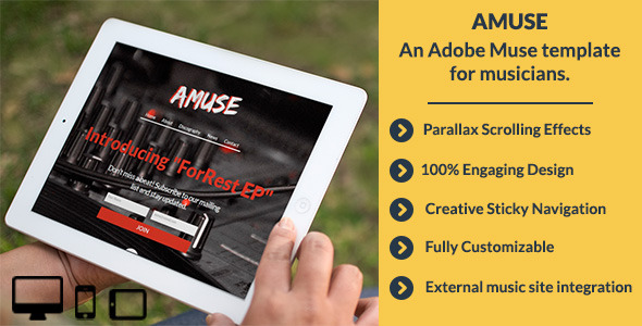 ThemeForest Amuse-Adobe Muse Music Template 5767316