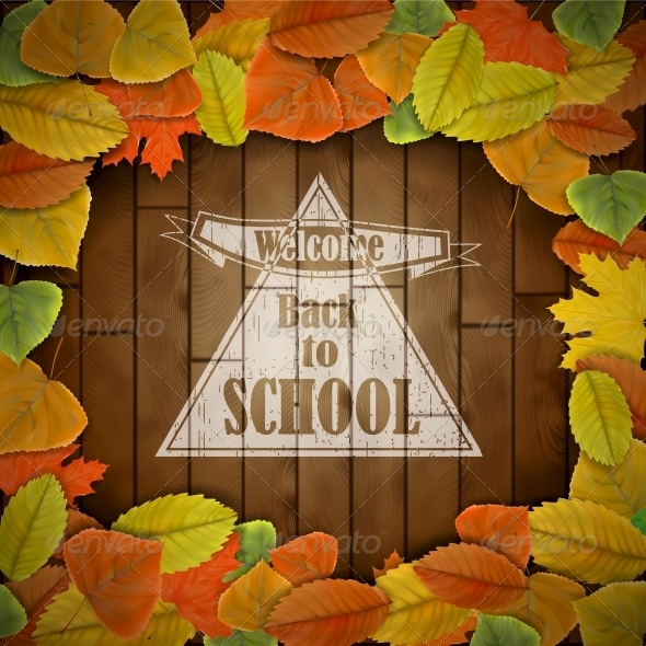 GraphicRiver Back to School Wood Board with Leaves 5775499