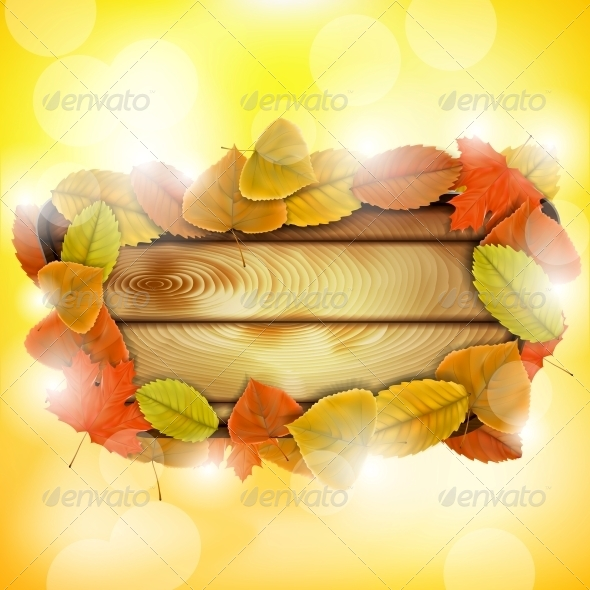 GraphicRiver Wooden Board with Autumn Colorful Leaves 5775525