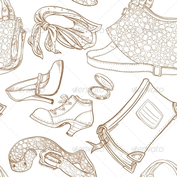 GraphicRiver Seamless Pattern of Feminine Fashion Objects 5775967