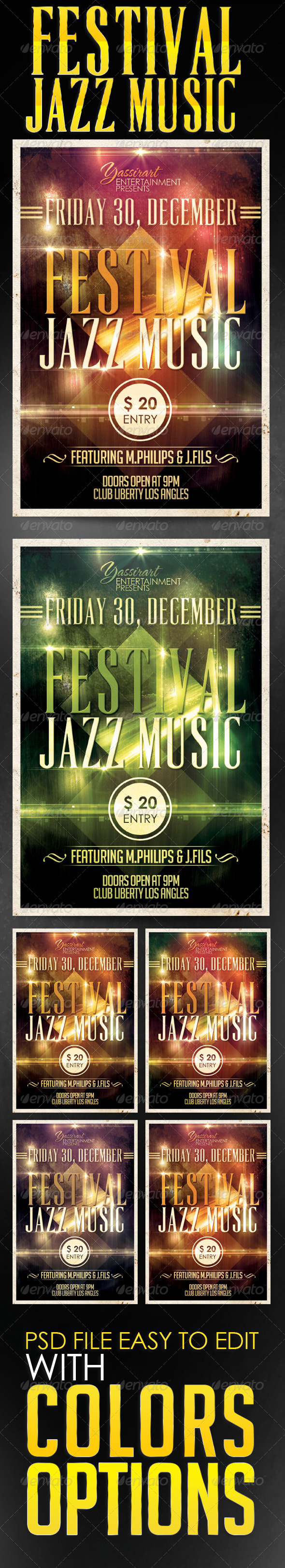 GraphicRiver Festival Jazz Flyer Template 5775977