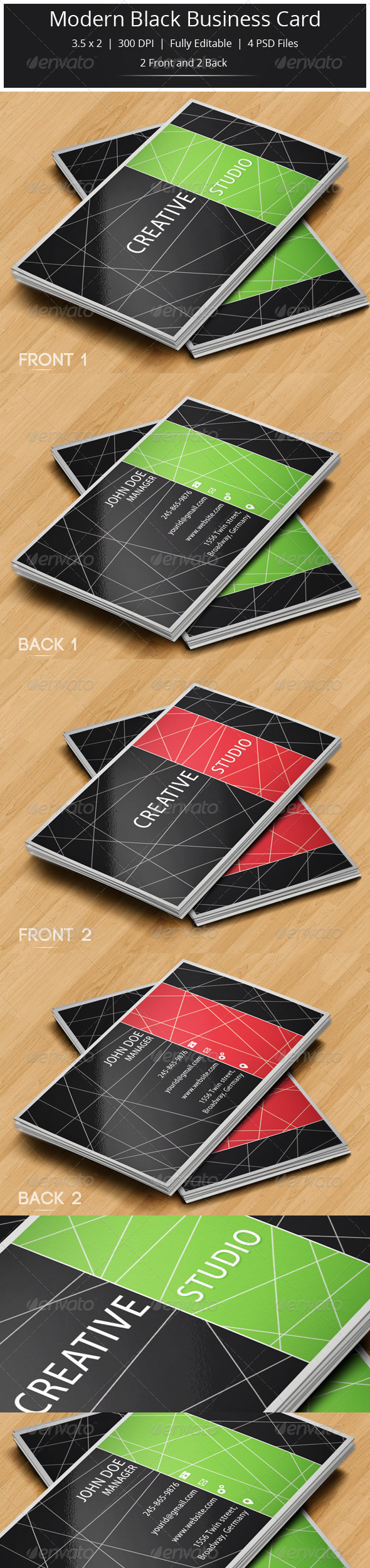 GraphicRiver Modern Black Business Card 5776113