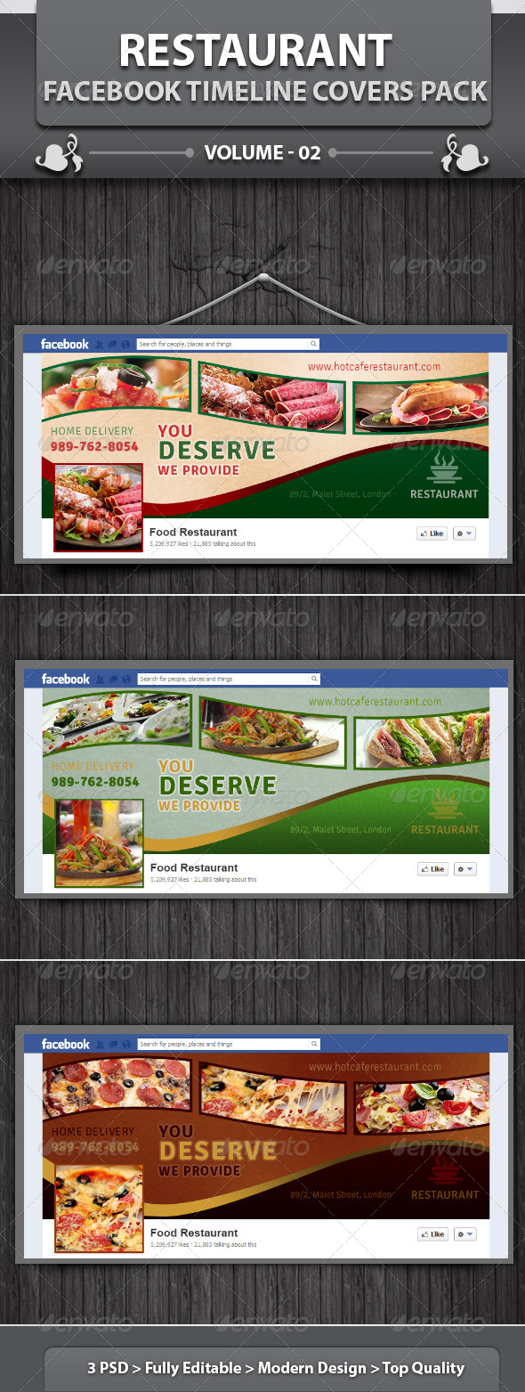 GraphicRiver Restaurant Facebook Timeline Covers Pack v2 5776573