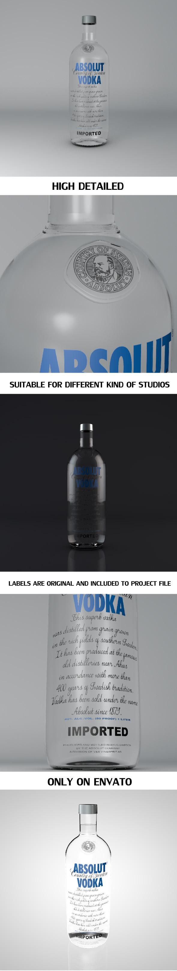 Absolut Vodka Bottle - 3DOcean Item for Sale