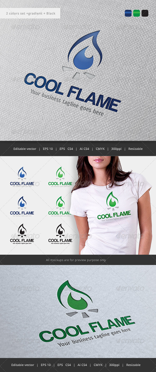 GraphicRiver Cool Flame Logo 5776975