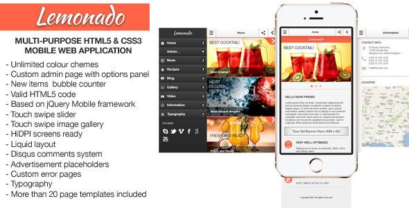 ThemeForest Lemonado Multi-purpose Mobile Web Application 5778052