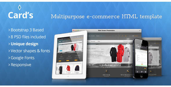 ThemeForest Cards multipurpose e-commerce HTML template 5779239