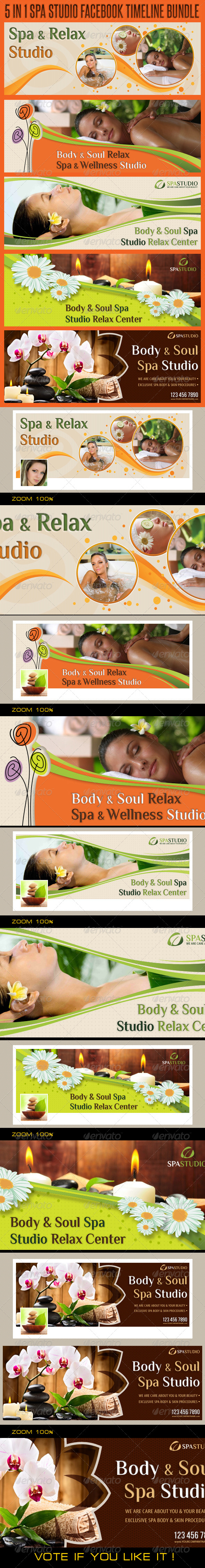 GraphicRiver 5 in 1 Spa Studio Facebook Timeline Bundle 5779876