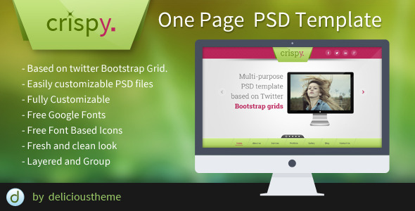 ThemeForest Crispy One Page PSD Template 5748692
