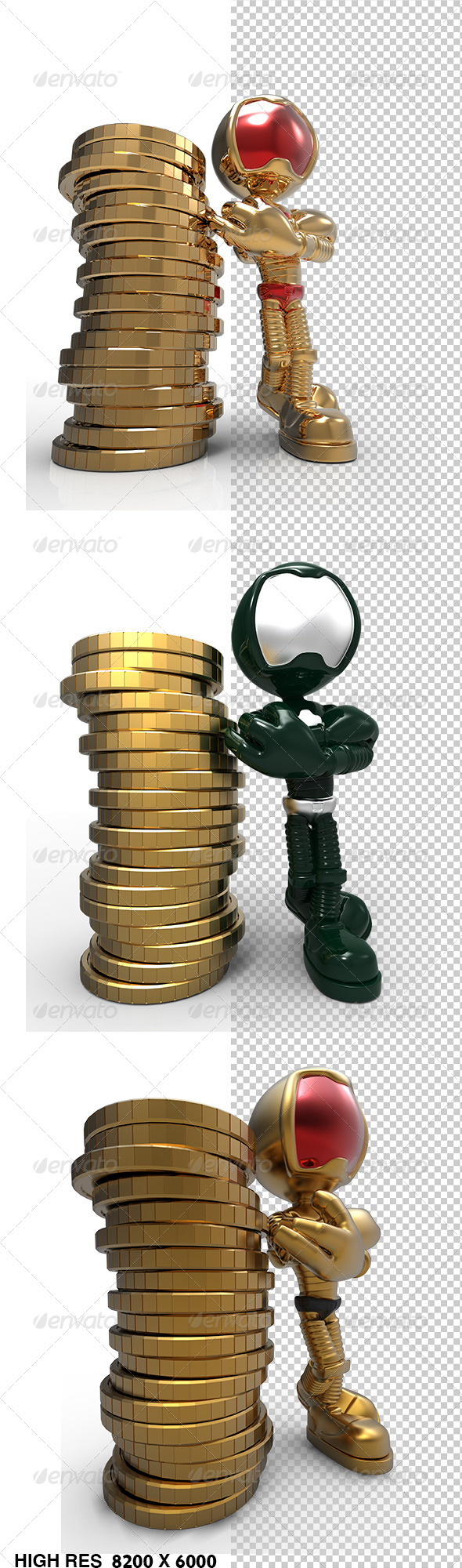 GraphicRiver Golden Guy 3D Character Stand Beside Money Coins 5780744