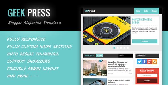 Geek Press | ThemeForest Responsive News & Magazine Blogger Template