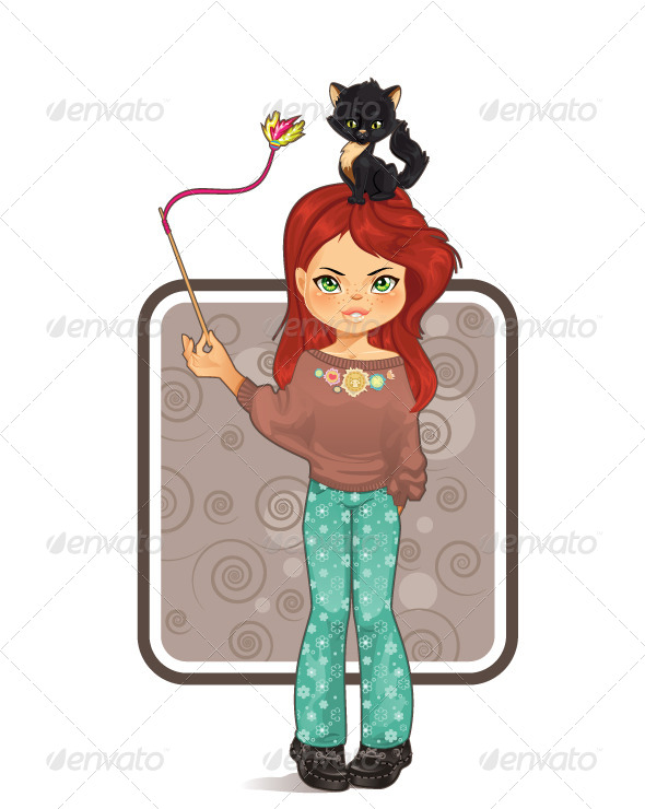 GraphicRiver Girl Playing with Cat 5782694