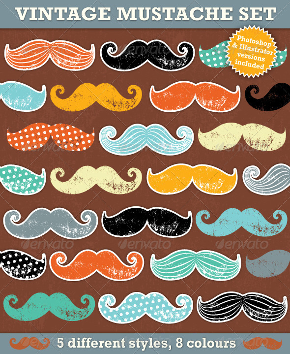GraphicRiver Vintage Mustaches 5741516