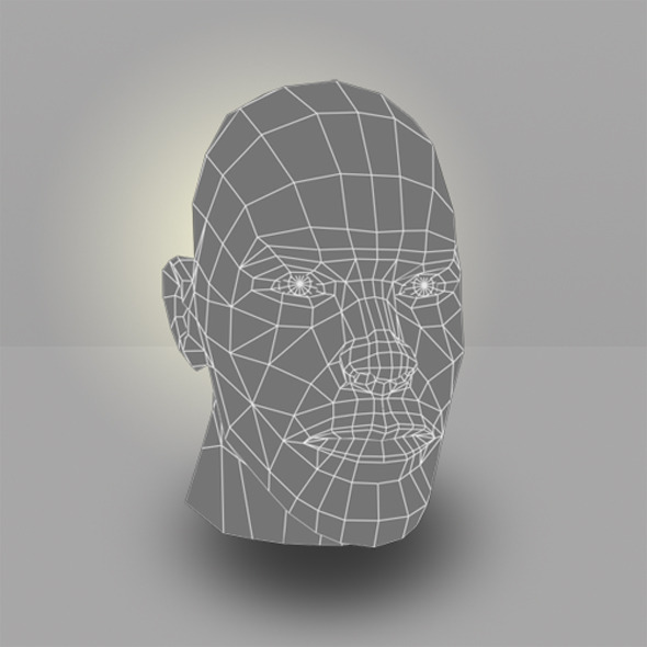 3DOcean Human Male Head Low Poly 5785989