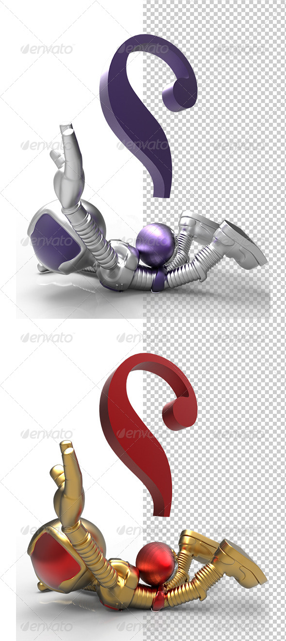 GraphicRiver 3D Golden Character Killed by Question Mark 5788312