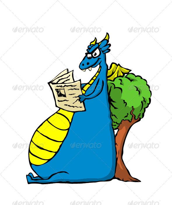 GraphicRiver Dragon Reading Newspaper 5788718