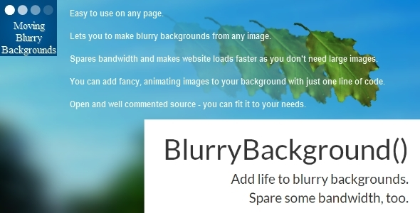 CodeCanyon Moving Blurry Background for JavaScript and jQuery 5788850