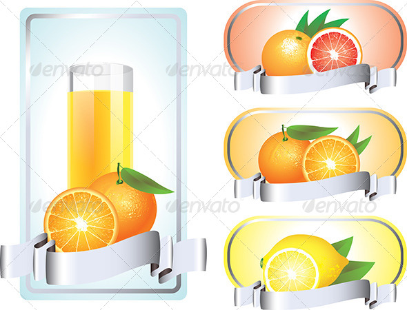 GraphicRiver Labels with Citrus Fruits 5789162
