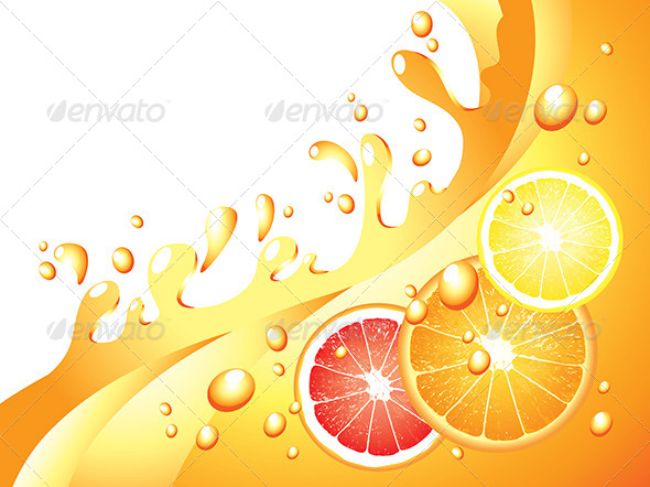GraphicRiver Juicy Citrus Splashes Vector Background 5789205