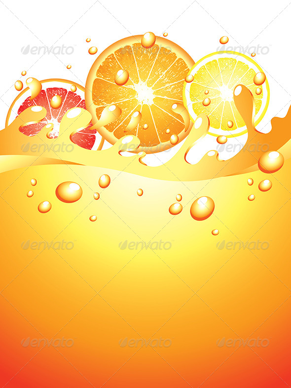 GraphicRiver Juicy Citrus Splashes Vector Background 5789208