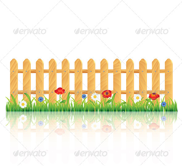 GraphicRiver Wooden Fence on Grass with Flowers 5789250
