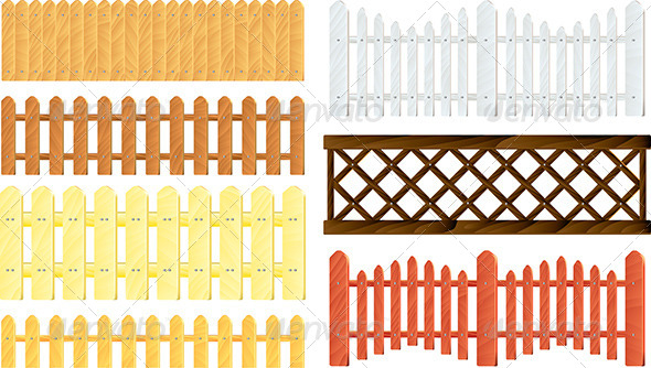 GraphicRiver Wooden Fences Vector Set 5789251