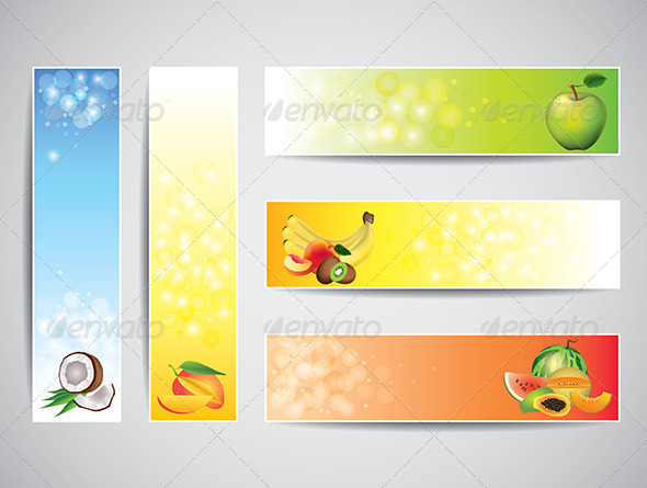 Colorful Banners with Fruits