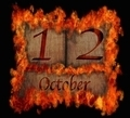 Burning wooden calendar October 12. - PhotoDune Item for Sale