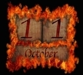 Burning wooden calendar October 11. - PhotoDune Item for Sale