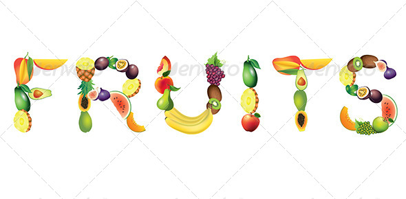 Fruits Word Vector Illustration