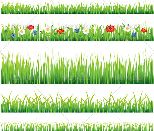 GraphicRiver Green Grass and Flowers Vector Set 5789297