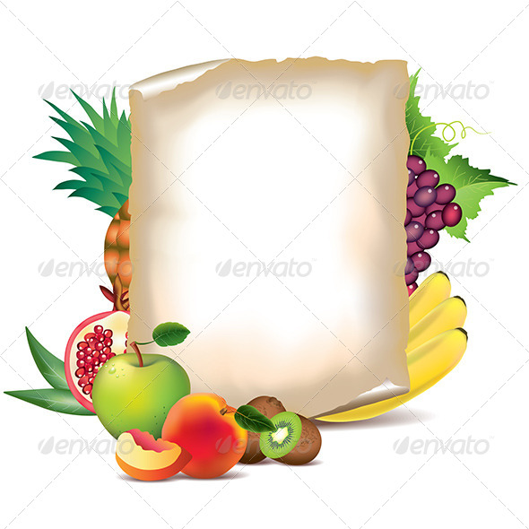 GraphicRiver Fruits and Sheet of Paper 5789298