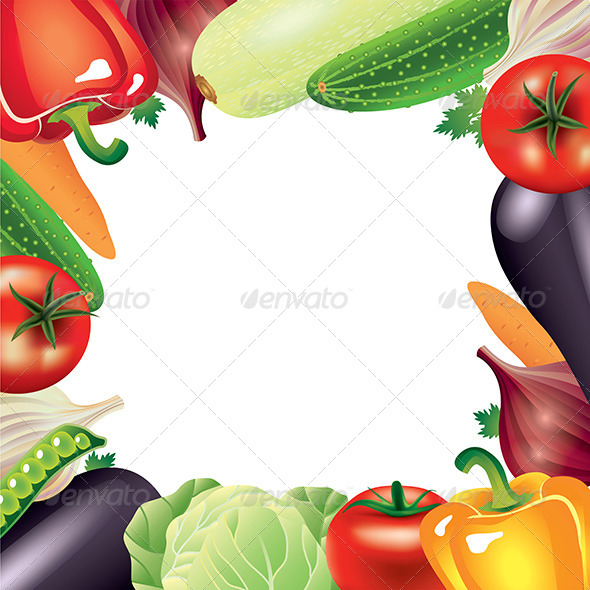 GraphicRiver Vegetables Frame Vector Background 5789301