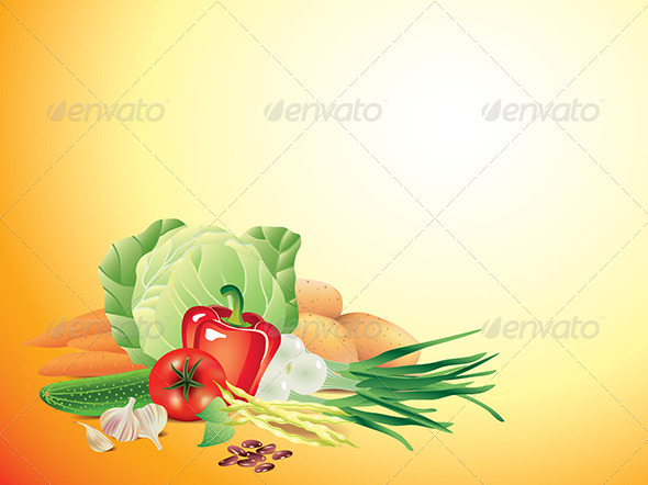 GraphicRiver Vegetables Horizontal Vector Background 5789302