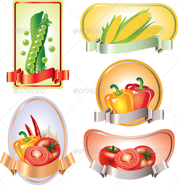 GraphicRiver Labels with Vegetables in Vector 5789303