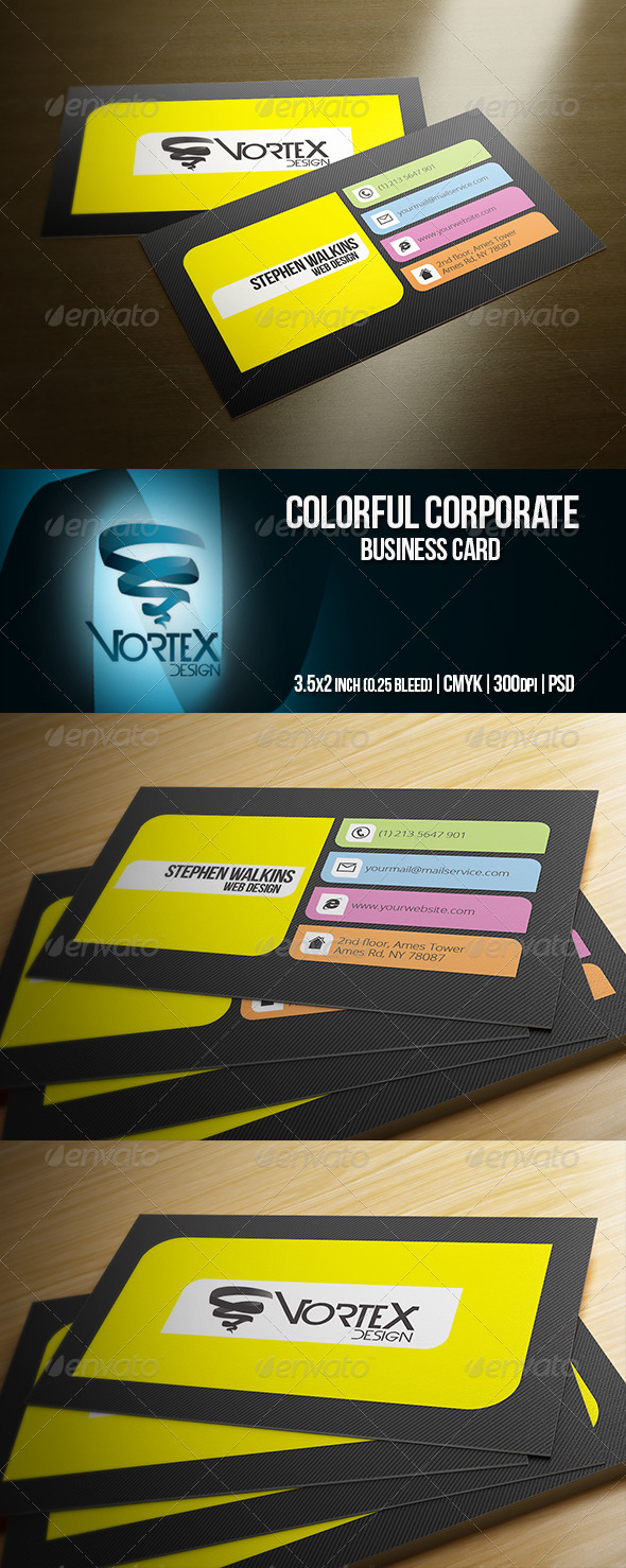 GraphicRiver Colorful Corporate Business Card 5789331