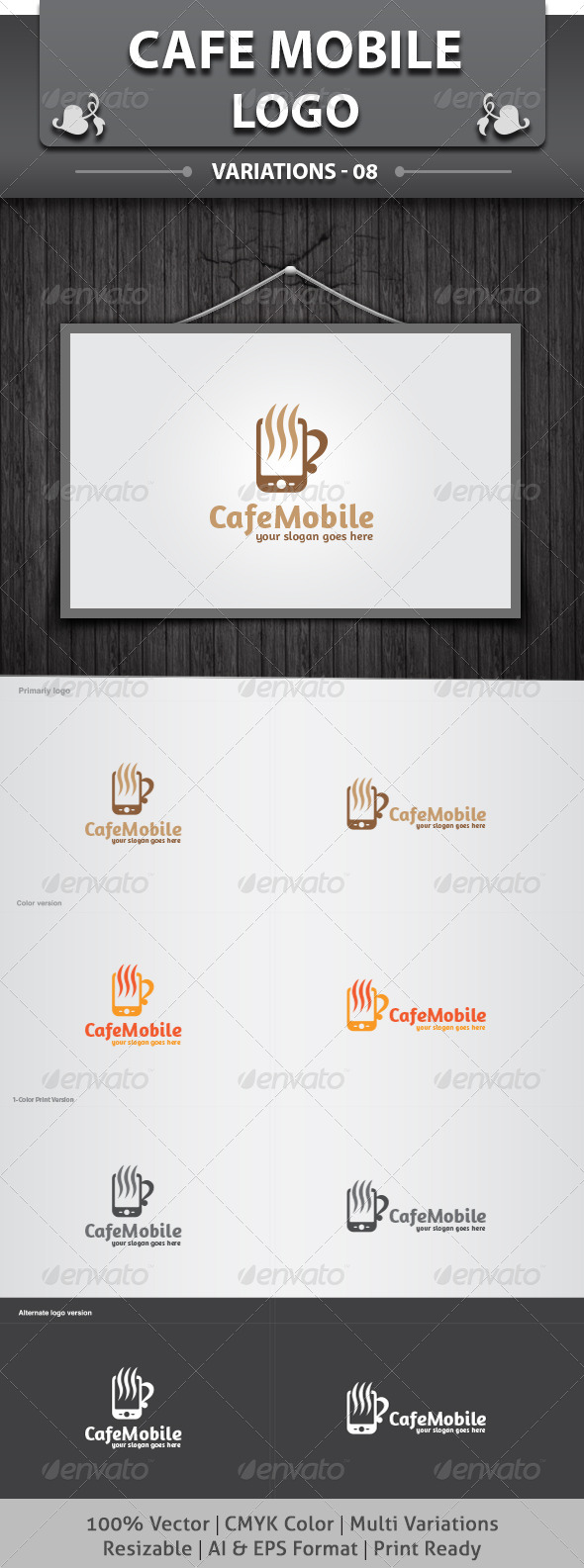 Cafe Mobile Logo - Food Logo Templates
