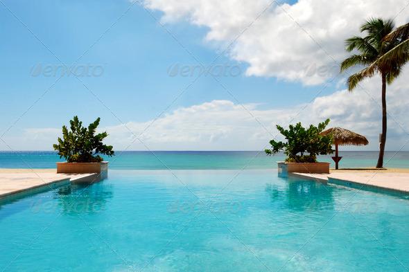 PhotoDune Luxury Swimming Pool on Beach 674428